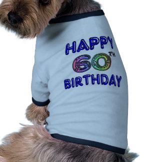 60.os regalos de cumpleaños felices en fuente del camiseta con mangas para perro