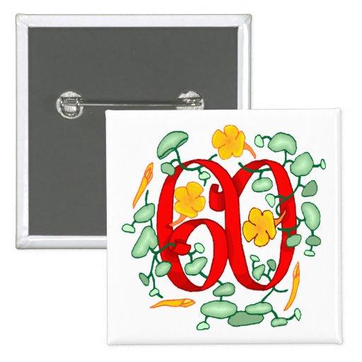 60.os regalos de cumpleaños florales pin cuadrado
