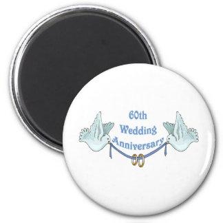 60.os regalos t del aniversario de boda imán redondo 5 cm