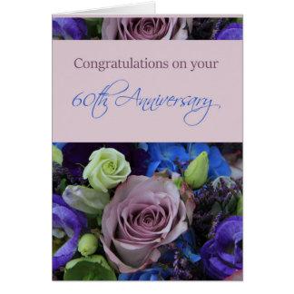 60.os rosas felices del aniversario tarjeta de felicitación