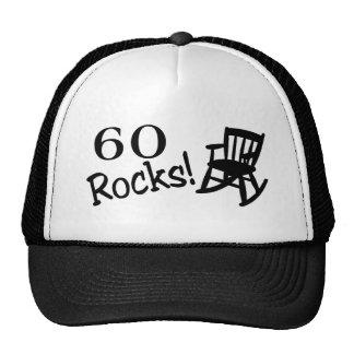 60 rocas (eje de balancín) gorros bordados