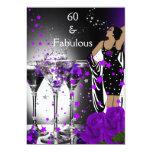 """60 rosas púrpuras fabulosos Martini del 60.o Invitación 5"""" X 7"""""""