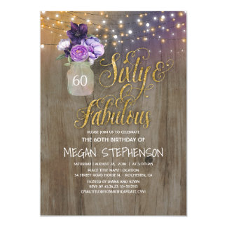 60 Rustic Birthday - Purple Flowers Mason Jar Gold Card