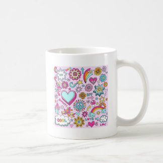 60 s Colorful Hippie Peace Love Mugs