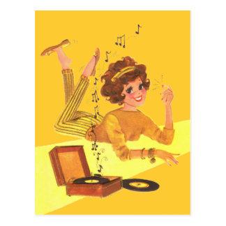 60 s Music Girl Postcard