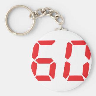 60 sixty red alarm clock digital number basic round button keychain