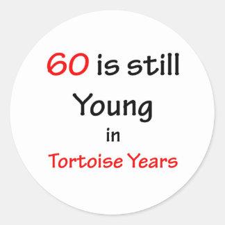 60 Tortoise Years Classic Round Sticker