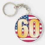 60 USA Gold Basic Round Button Keychain