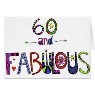 60 y 60.o cumpleaños fabuloso tarjeta de felicitación