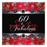 60 y 60.o rojo fabuloso de la plata de la fiesta d invitacion personal