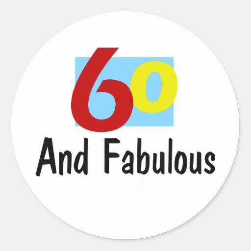 60 y fabuloso pegatina redonda