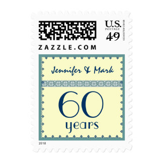 60 Year Anniversary - Turquoise & Ivory Lace Stamp