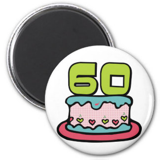 60 Year Old Birthday Cake Magnet