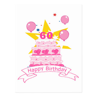 60 Year Old Birthday Cake Postcard
