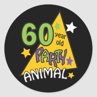 60 Year Old Party Animal - 60th Birthday Classic Round Sticker