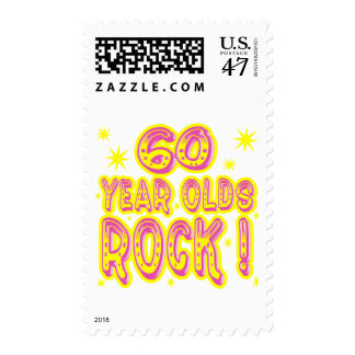 60 Year Olds Rock ! (pink) Stamp