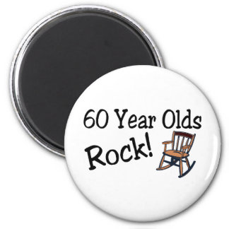 60 Year Olds Rock (Rocking Chair) 2 Inch Round Magnet