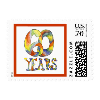 60 years Birthday or Anniversary  postage stamp