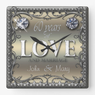 60 Years of Love ID196 Square Wall Clock