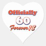 60 years old birthday designs heart sticker