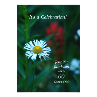 60 Years Old Birthday Party Invites White Flower Personalized Invitation