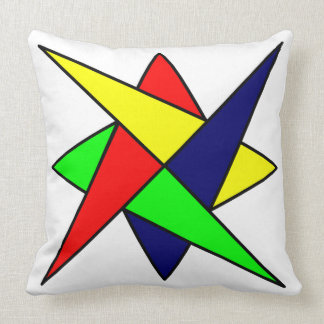 60s Abstract Colorful Design White Background Throw Pillow