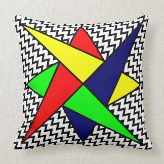 60s Abstract Colorful Design White Black Chevrons Throw Pillow