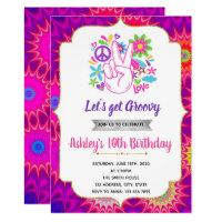 60s birthday theme invitation