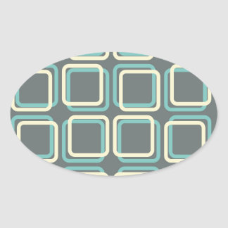 60s Boxes Oval Sticker
