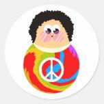 60's Child Funny Cartoon Peace Kid Classic Round Sticker