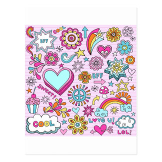 60's Colorful Hippie Peace Love Postcard