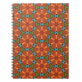 60s Design 01 Sixties Floral Flower Tiled Repeat Spiral Notebook