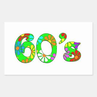60's Flowers Rectangle Sticker