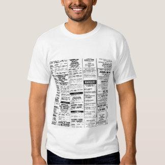 60's Gigs Listings T-shirt