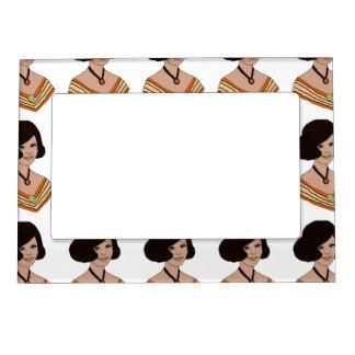 60s Girl in Orange Magnetic Picture Frame