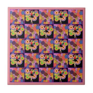 '60s Girl on Splashy Background Ceramic Tile
