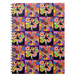 '60s Girl on Splashy Background Spiral Notebook