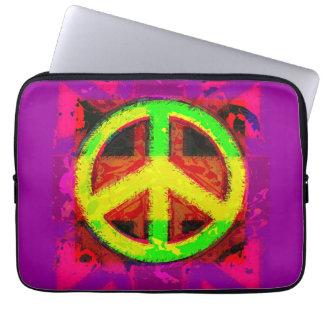 60's Hippy Peace Sign Retro Art Laptop Sleeve