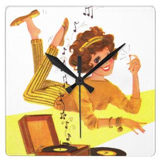 60's Music Girl Wall Clocks