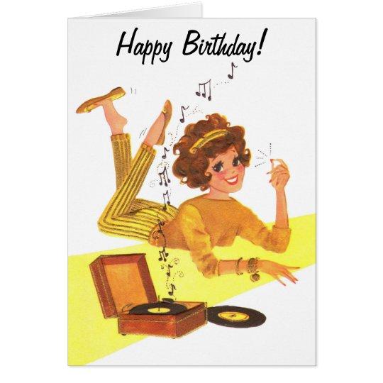 60s Music Girl Happy Birthday Card