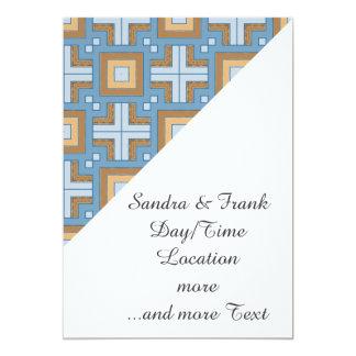 60s pattern MARLENE, aqua. 5x7 Paper Invitation Card