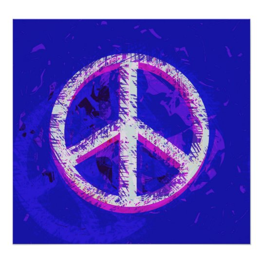 60's Peace Sign Retro Art Poster