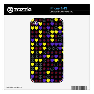 60's Peace Signs, Hearts and Flower Power Design iPhone 4S Decal