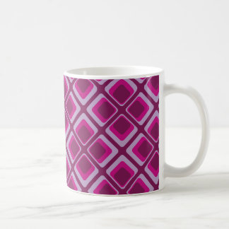 60's pink and purple squares coffee mug
