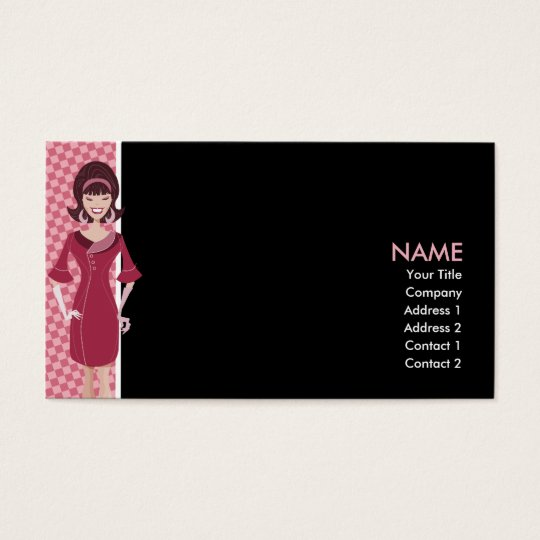60s retro chick business card
