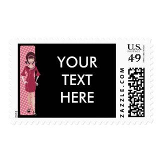60s retro chick postage