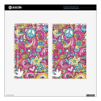 60s Retro Hippy Peace Pattern Decals For Kindle Fire