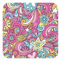 60s Retro Hippy Peace Pattern Square Sticker
