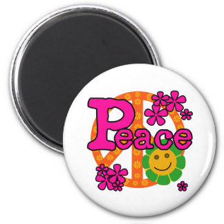 60s Style Peace 2 Inch Round Magnet