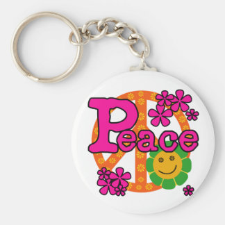 60s Style Peace Basic Round Button Keychain